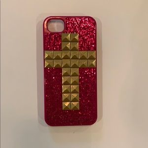 Accessories - IPhone 5 case pink with gold cross